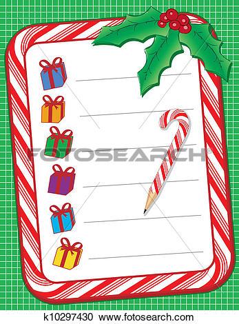 Christmas shopping list clipart vector black and white stock Clipart of Christmas Shopping List k10297430 - Search Clip Art ... vector black and white stock