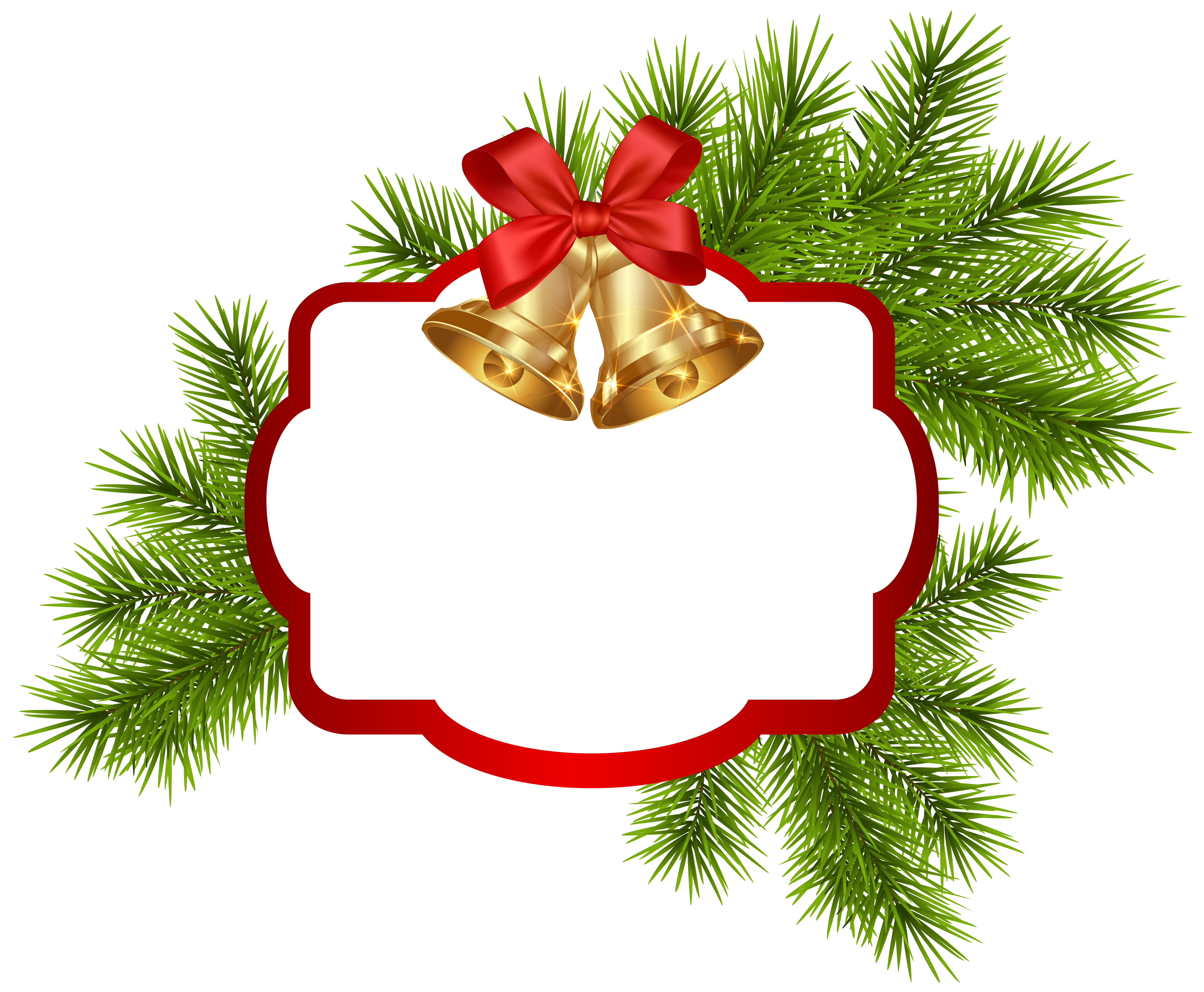 Christmas sign clipart svg free stock Christmas White Blank Decor with Bells PNG Clipart Image | Gallery ... svg free stock