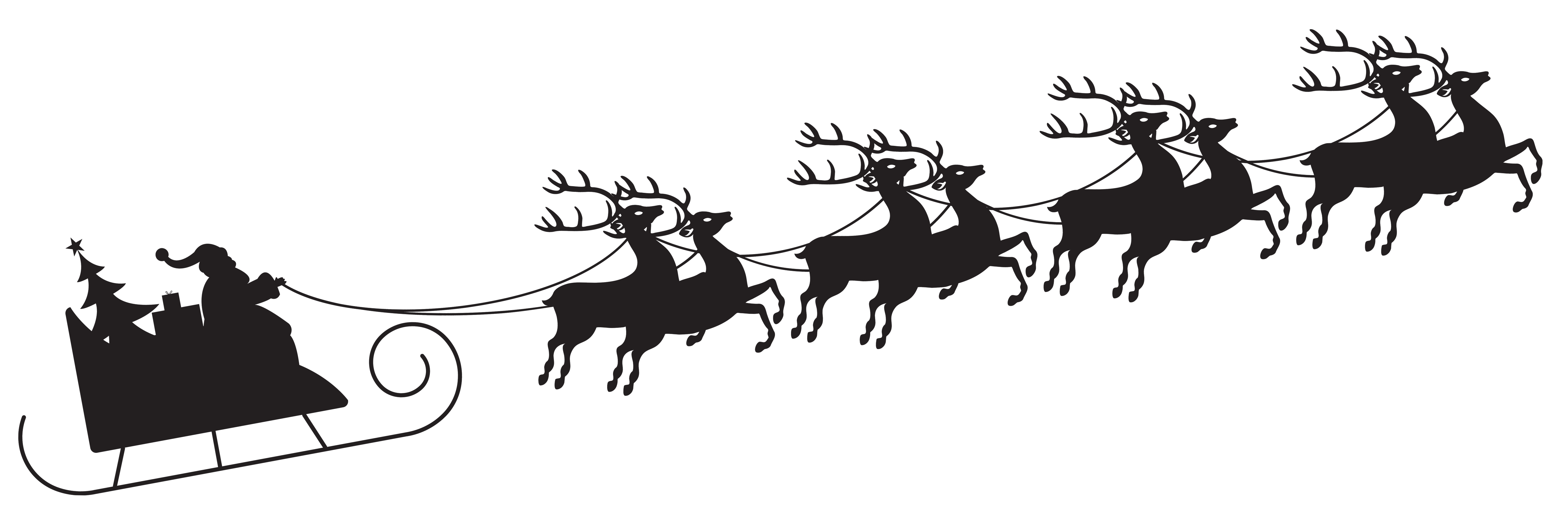 Christmas sleighs clipart png black and white stock Santa with Sleigh Silhouette Transparent PNG Clip Art Image ... png black and white stock