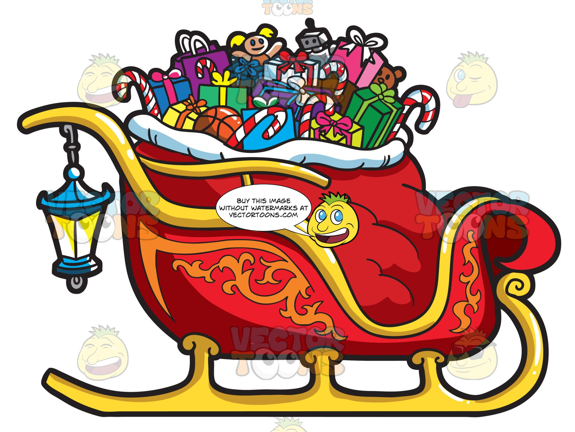 Christmas sleigh clipart picture clip free A Christmas Sleigh Full Of Gifts clip free