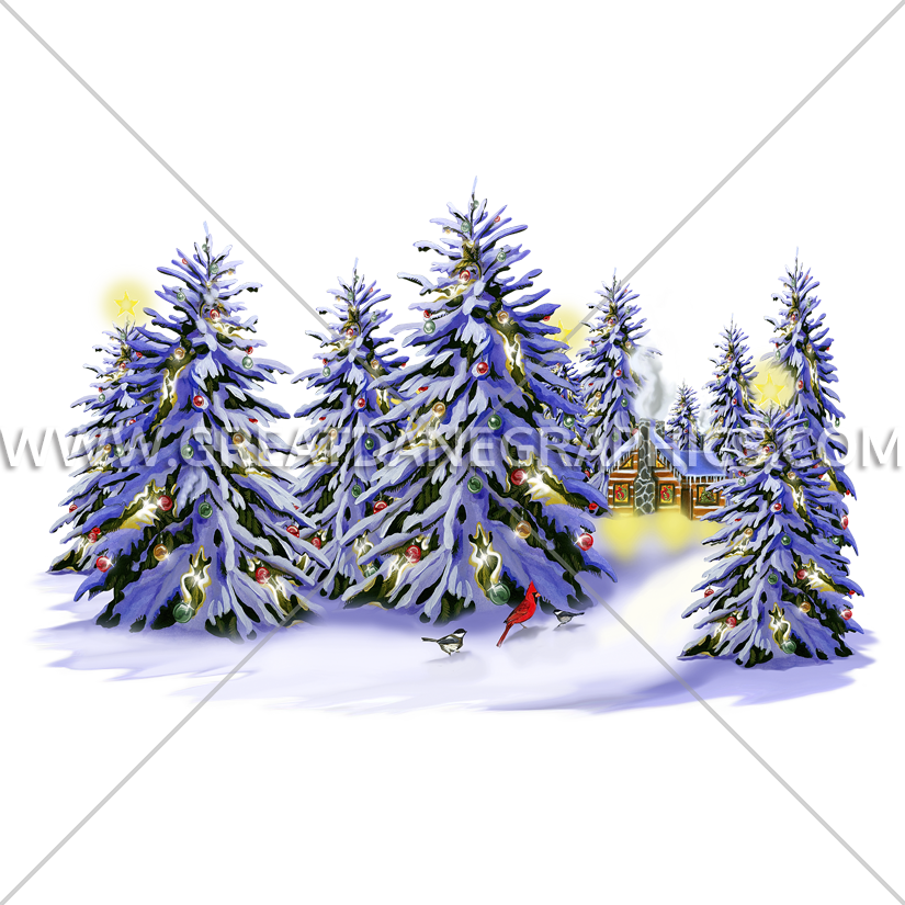 Christmas snow clipart image Christmas Snow Trees | Production Ready Artwork for T-Shirt Printing image