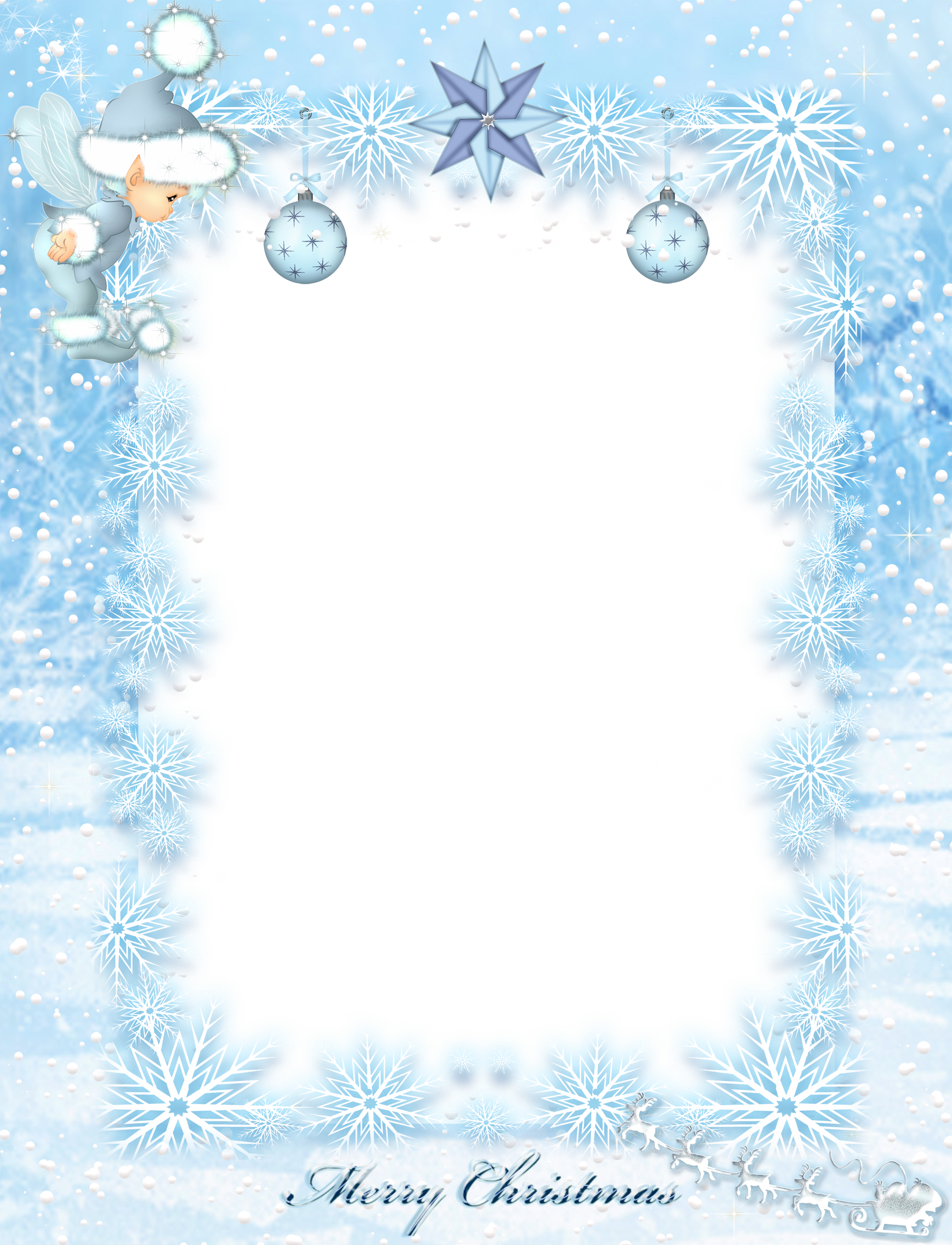 Silver snowflake clipart kids png library Transparent Kids Christmas Ice Elf PNG Photo Frame | Raamistik ... png library