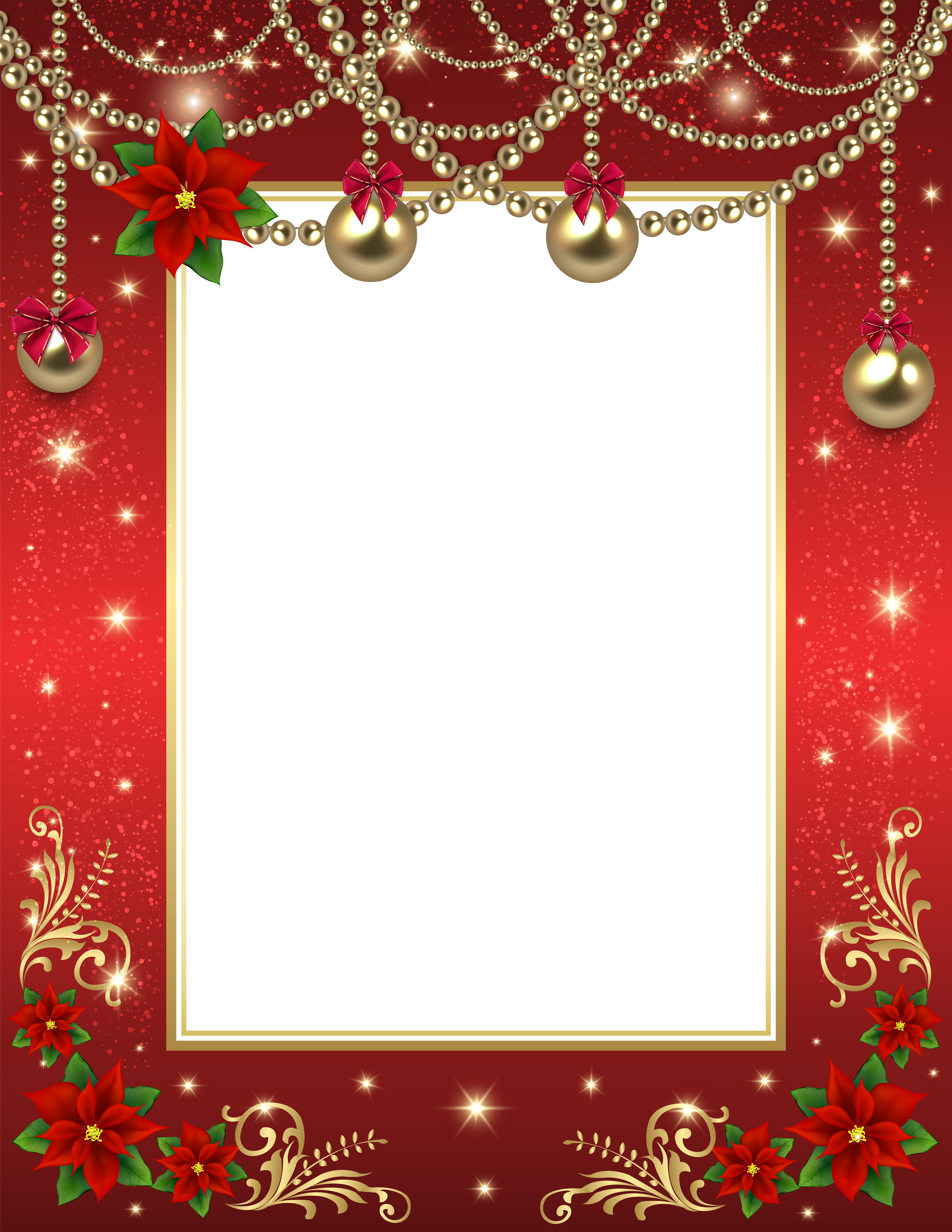Snowflake clipart border red clip library Christmas Transparent PNG Photo Frame Red | Christmas | Pinterest clip library