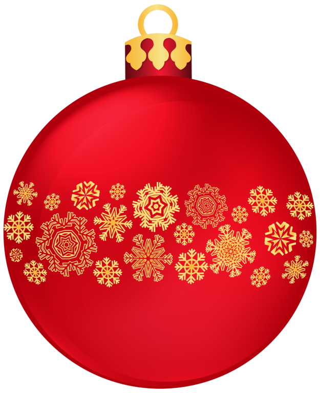 Christmas snowflake merry clipart image Red Christmas Ball With Snowflakes PNG Clipar image