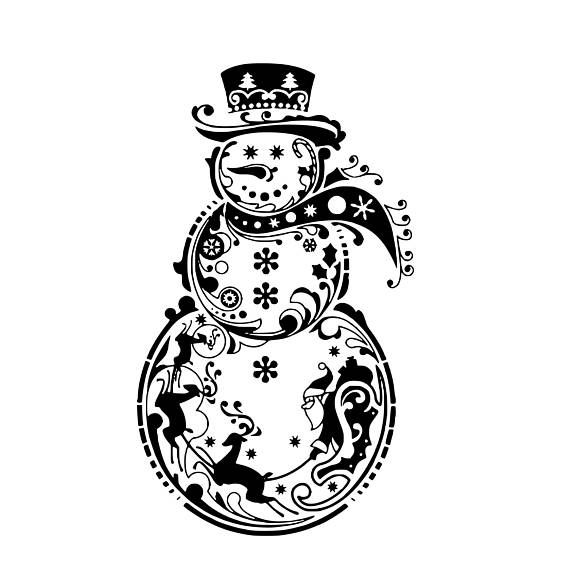 Christmas snowman outline clipart for vinyl cut out