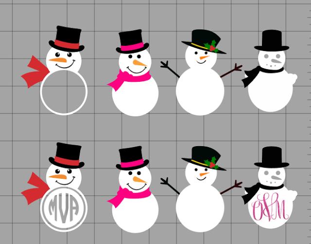Christmas snowman outline clipart for vinyl cut out graphic download Free Snowman Monogram Set: Silhouette Cut Files | Silhouette CAMEO ... graphic download