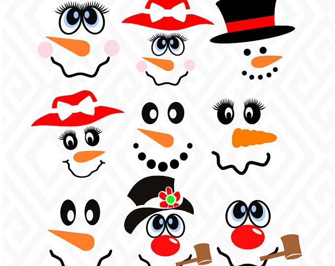 Christmas snowman outline clipart for vinyl cut out svg transparent library Snowman and Snow Woman Faces svg / dxf / eps / png files. Compatible ... svg transparent library