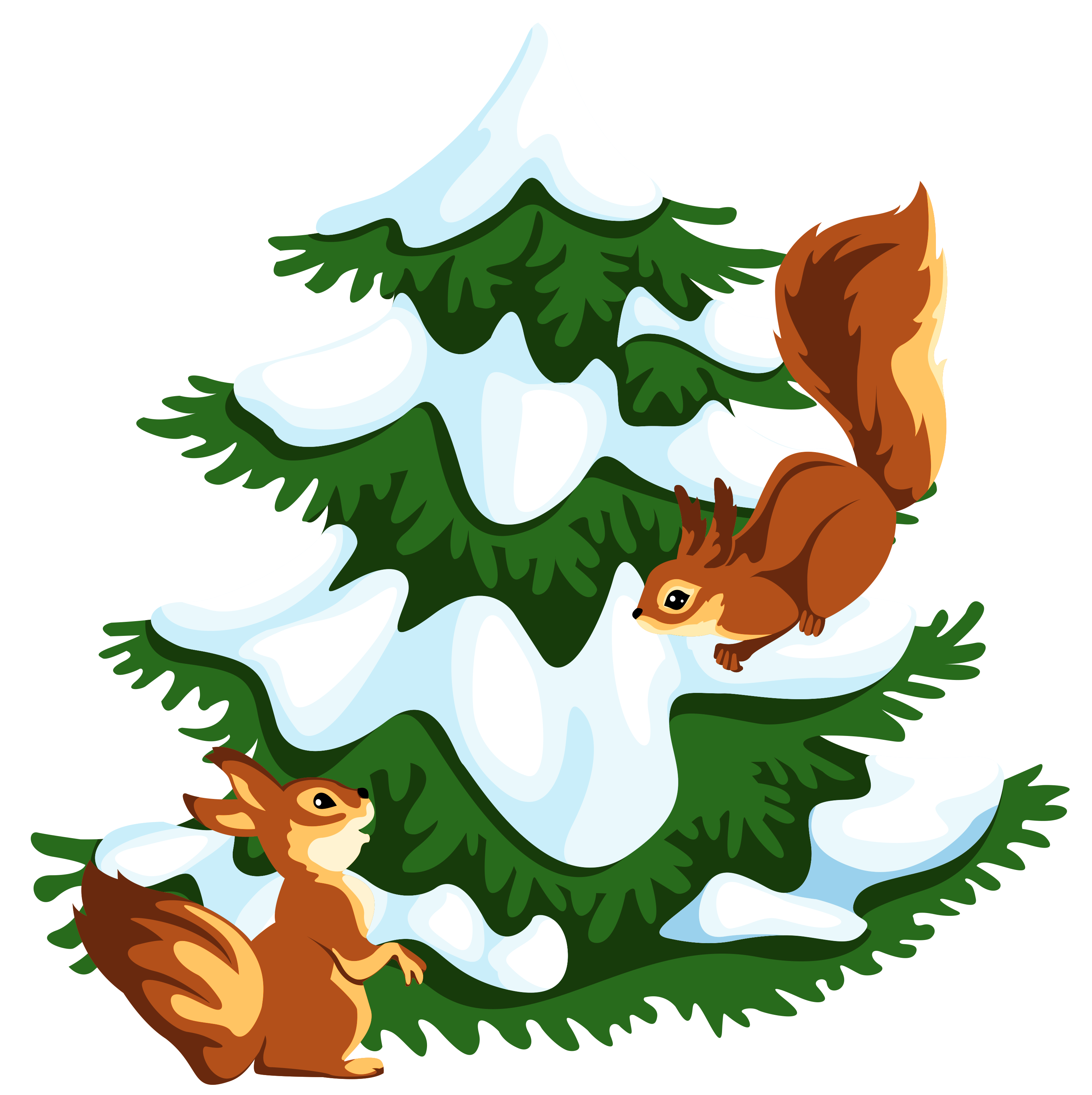 Christmas squirrel clipart clip freeuse library Transparent Snowy Tree with Squirrels PNG Clipart | Gallery ... clip freeuse library