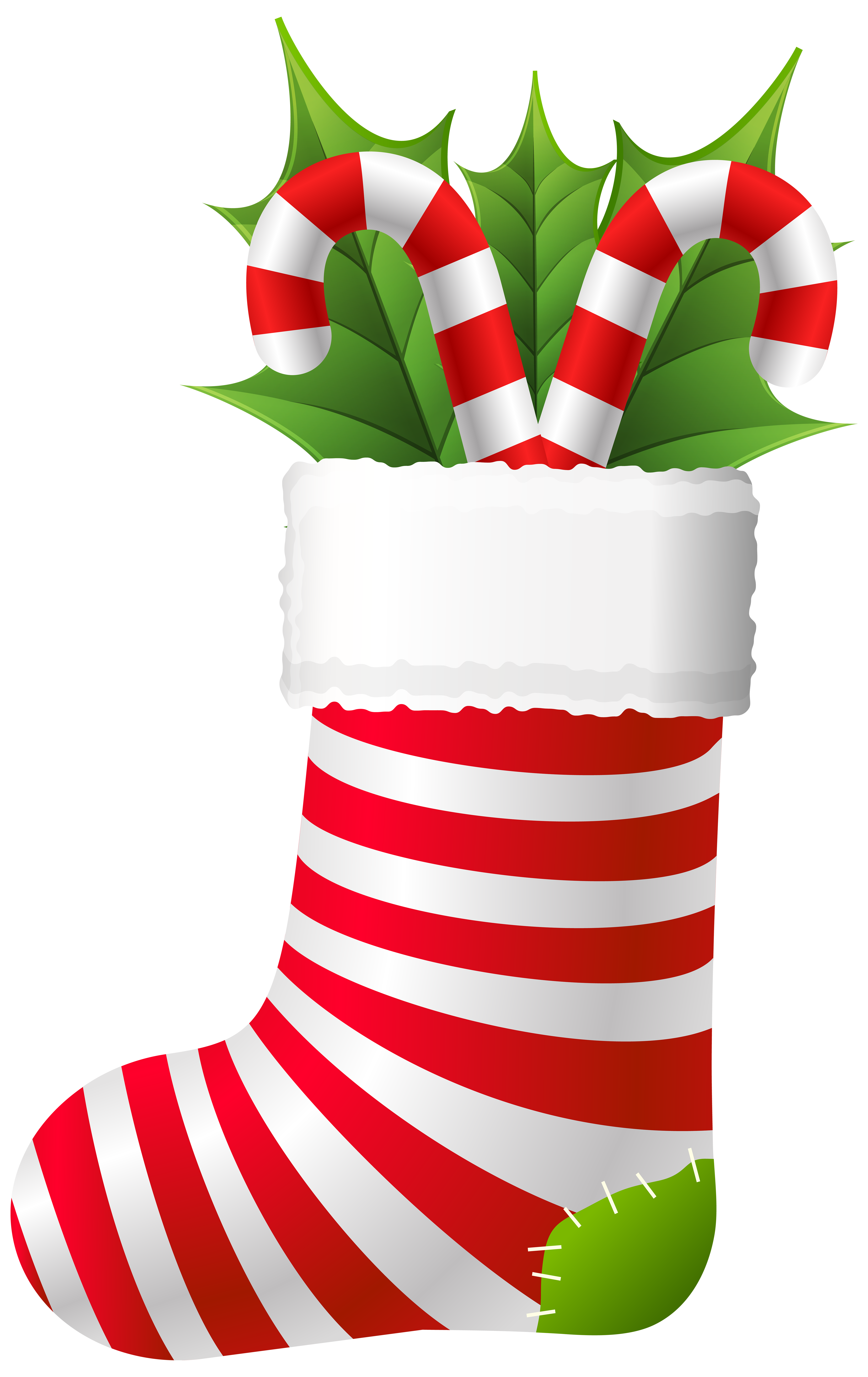 Christmas stocking clipart svg royalty free download Christmas Stocking with Candy Canes PNG Clip Art | Gallery ... svg royalty free download