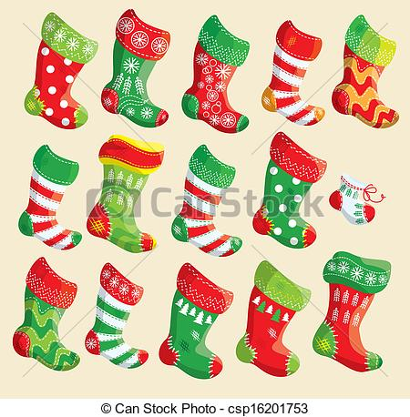 Vector of set various. Christmas stocking clipart patterns