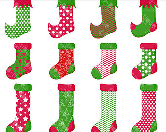 Christmas stocking clipart patterns. Etsy clip art for