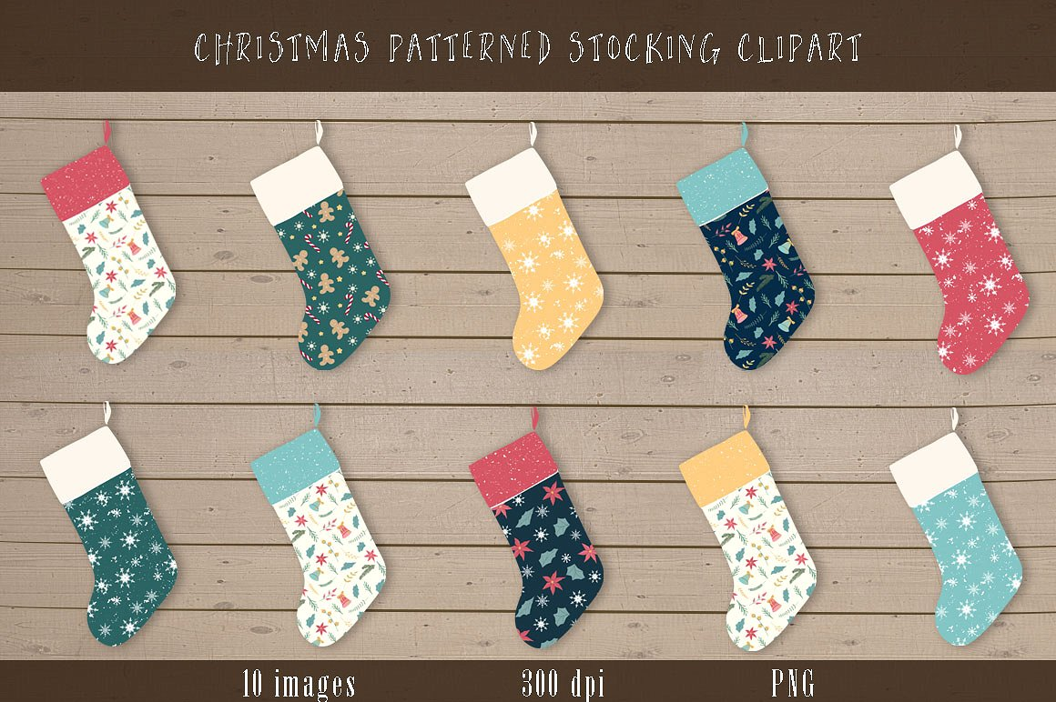Christmas stocking clipart patterns png transparent library Christmas Stocking Clipart ~ Graphics on Creative Market png transparent library