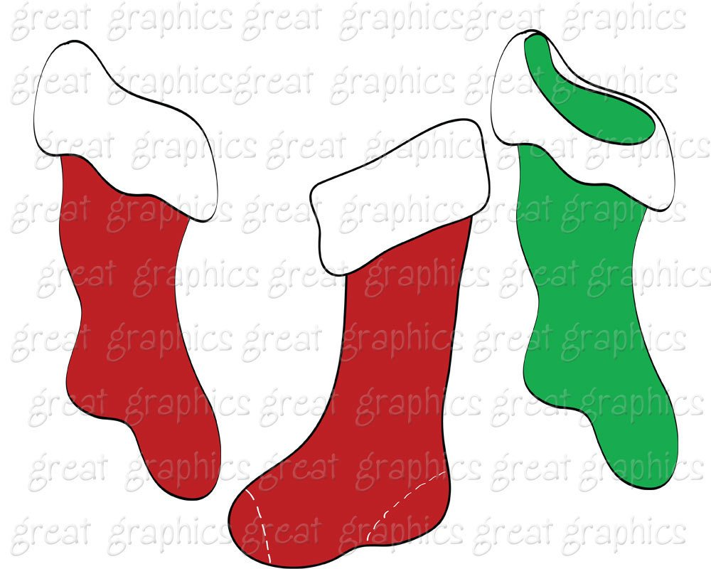 Christmas stocking clipart printables jpg royalty free stock Christmas Clipart Digital Christmas Clip Art Christmas Stocking ... jpg royalty free stock