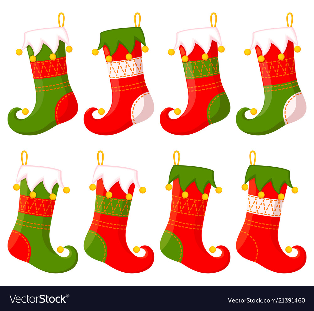 Christmas stockings clipart vector png library Colorful cartoon christmas stocking set png library