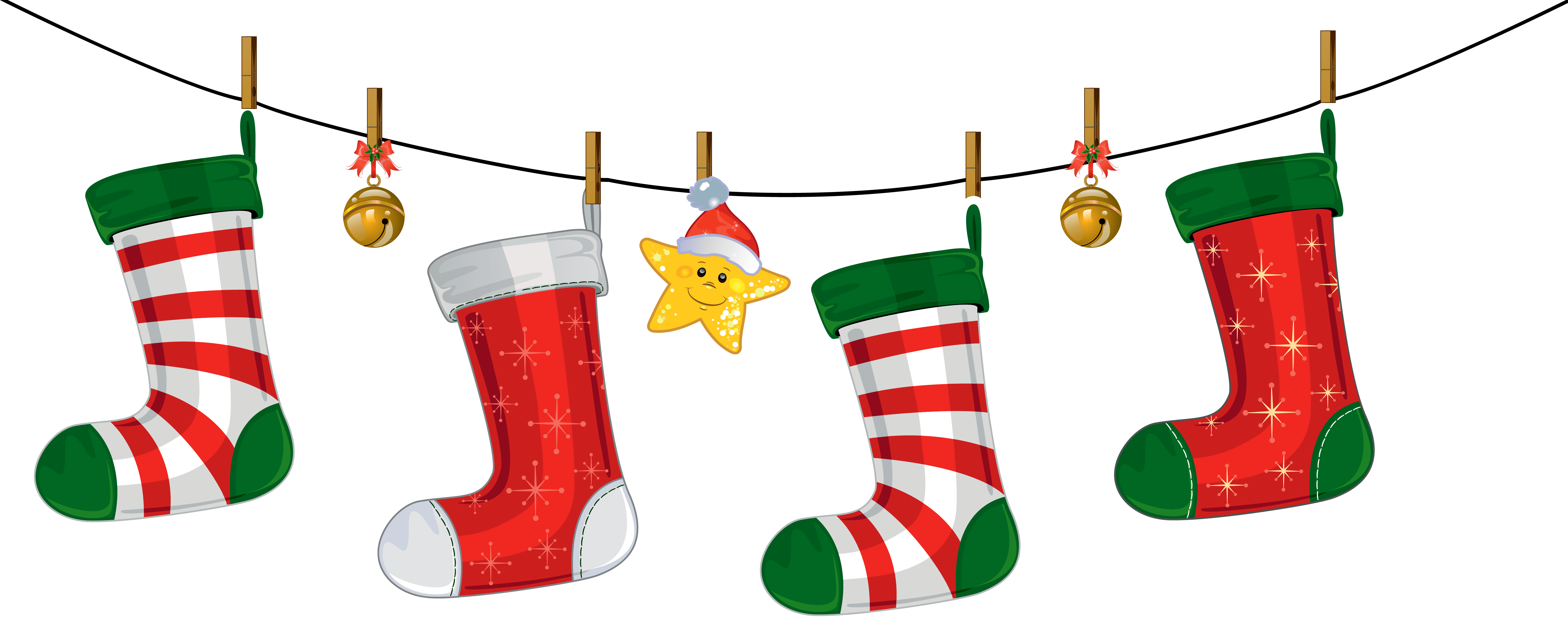 Hanging christmas stockings clipart