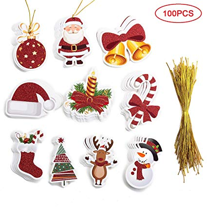 Christmas string tag clipart picture black and white stock MISS FANTASY 100 Pieces Tags with Gold String Tags Xmas Hanging Gift Wrap  Labels Xmas Glitter Gift Tags Include 10 Design (Multi) picture black and white stock
