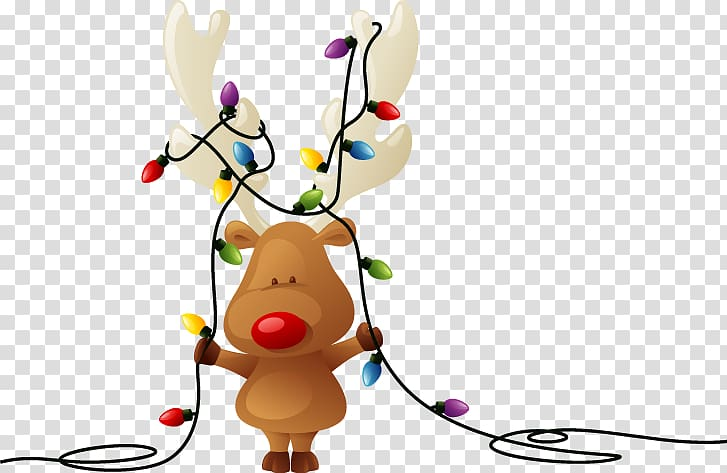 Christmas string tag clipart png free stock Moose holding string lights , Rudolph Reindeer Santa Claus Christmas ... png free stock
