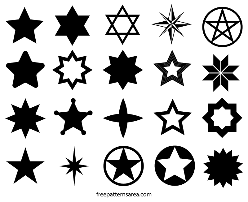 Clipart to put on a 5 point christmas star graphic black and white download Star Vector Shapes and Cutouts Template | Pinterest | Star images ... graphic black and white download