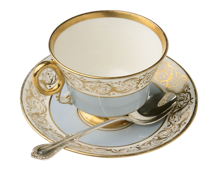 Christmas tea clipart clip black and white library Blue and Gold Tea Cup with Teaspoon Large Transparent Clipart ... clip black and white library