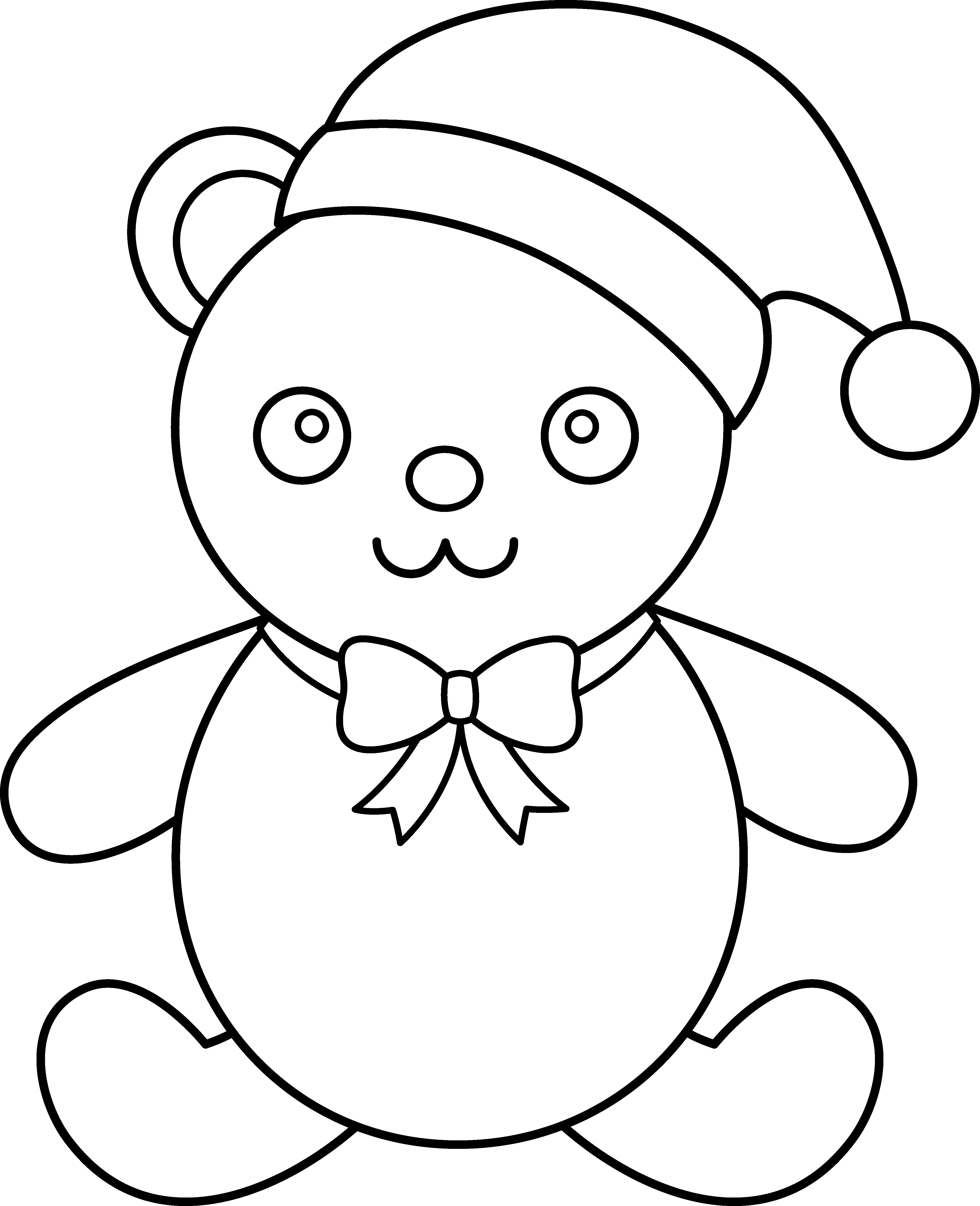 Christmas teddy bear clipart image free stock Christmas Teddy Bear Line Art - Free Clip Art image free stock