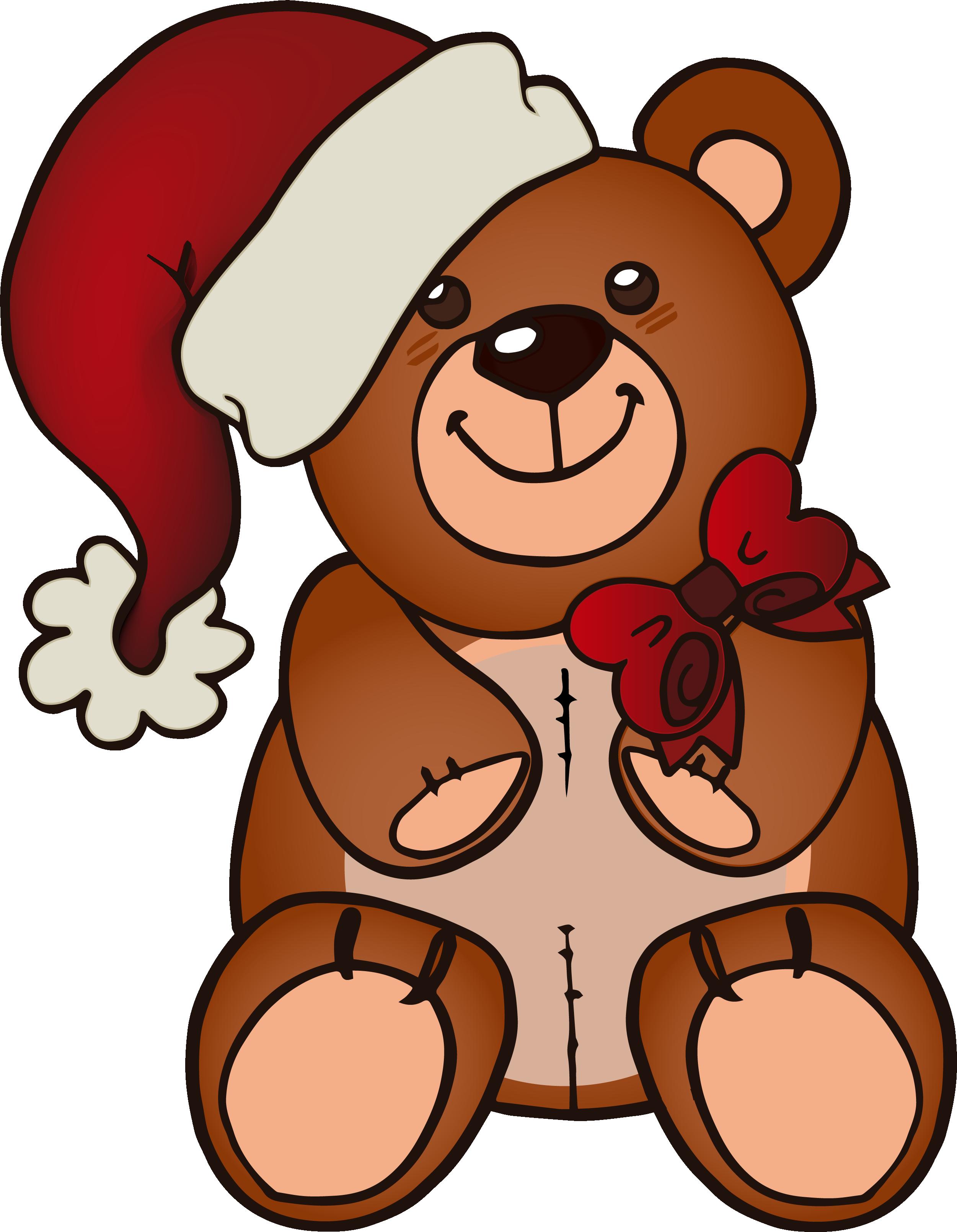 Christmas teddy bear clipart jpg transparent Teddy bear Santa Claus Christmas Hat - Cartoon brown bear 2501*3221 ... jpg transparent