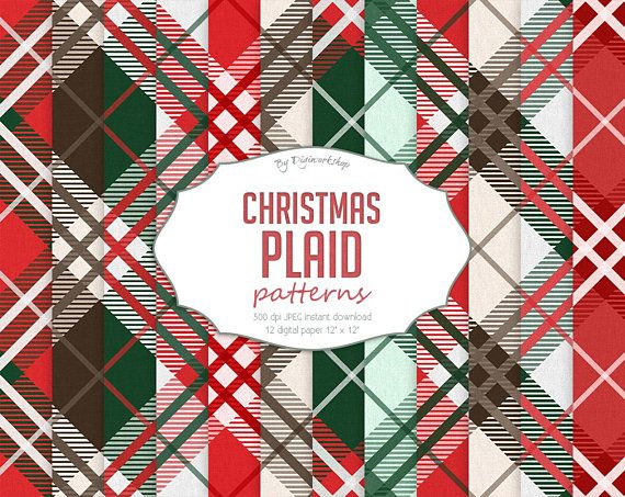 Christmas texture clipart picture freeuse Christmas Plaid Digital Paper, fabric textures, printable tartan ... picture freeuse