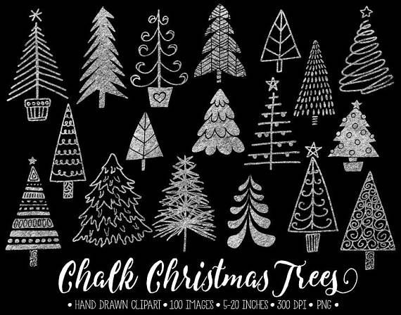 Christmas texture clipart clipart Hand drawn chalk, chalkboard Christmas tree clip art. Set includes ... clipart