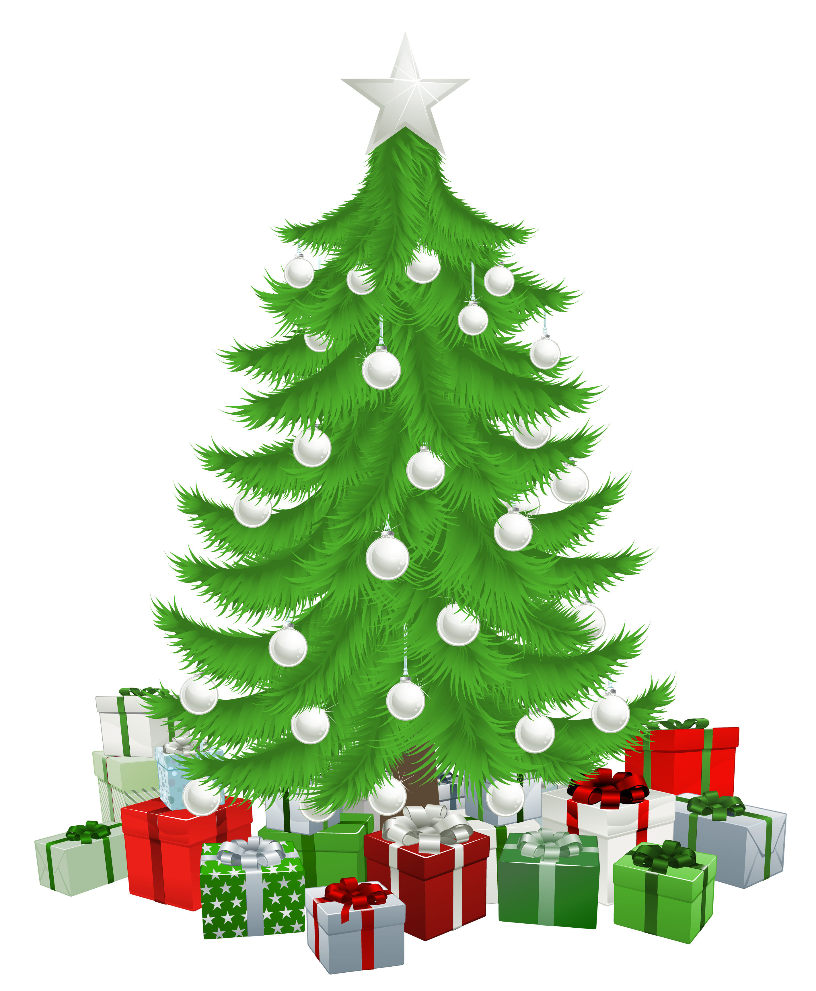 Clipart christmas tree with presents clip black and white Transparent Christmas Tree with Presents Clipart Picture | Gallery ... clip black and white