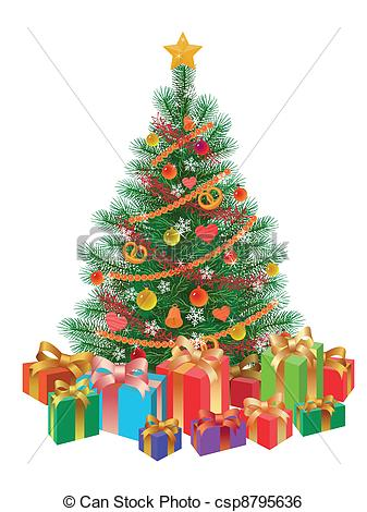 Christmas tree artwork clipart clip art royalty free Clip Art Vector of decorated christmas tree wirh presents isolated ... clip art royalty free