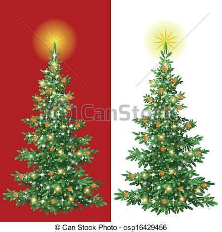 Christmas tree artwork clipart graphic library Clipart Vector of Christmas tree with decorations - Christmas ... graphic library