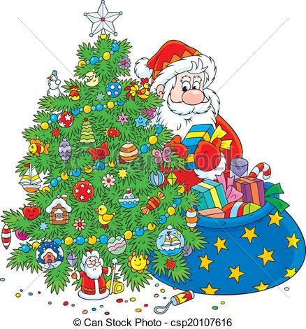 Christmas tree artwork clipart banner library library Christmas Clip Art Santa and Tree – Clipart Free Download banner library library