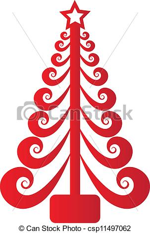 Christmas tree artwork clipart jpg freeuse library Clip Art Vector of Christmas tree red swirly vector csp11497062 ... jpg freeuse library