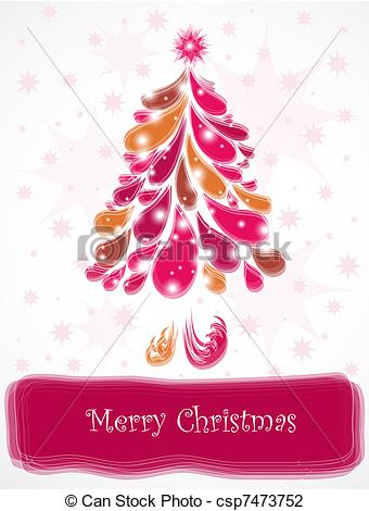 Christmas tree artwork clipart vector transparent library Vector Illustration of Abstract pink christmas tree. Vector ... vector transparent library