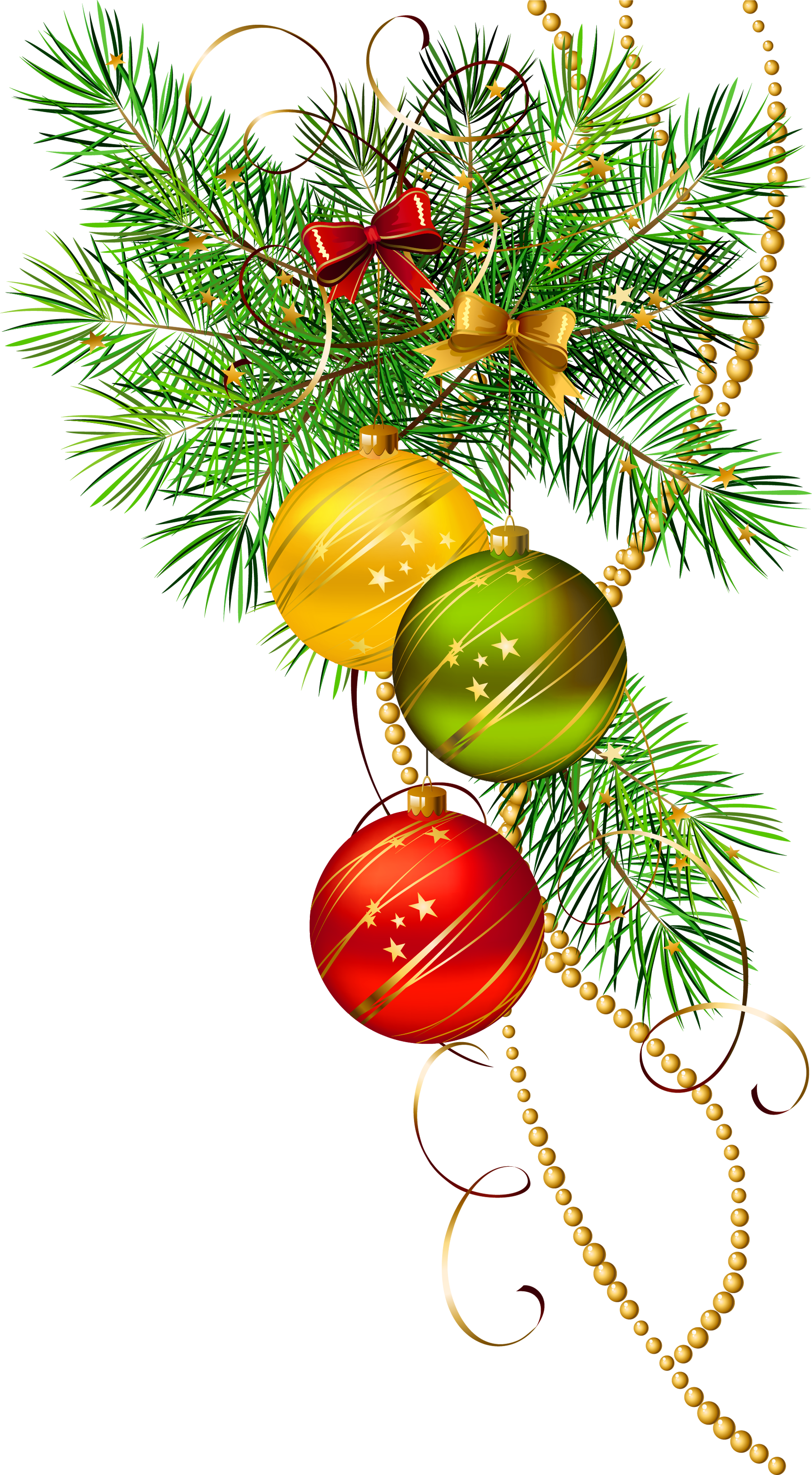Christmas tree branch clipart clip freeuse download Three Christmas Balls with Pine Branch Clipart | Gallery ... clip freeuse download