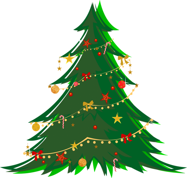 Christmas tree decoration clipart black and white Large Transparent Green Christmas Tree with Ornaments PNG Clipart ... black and white