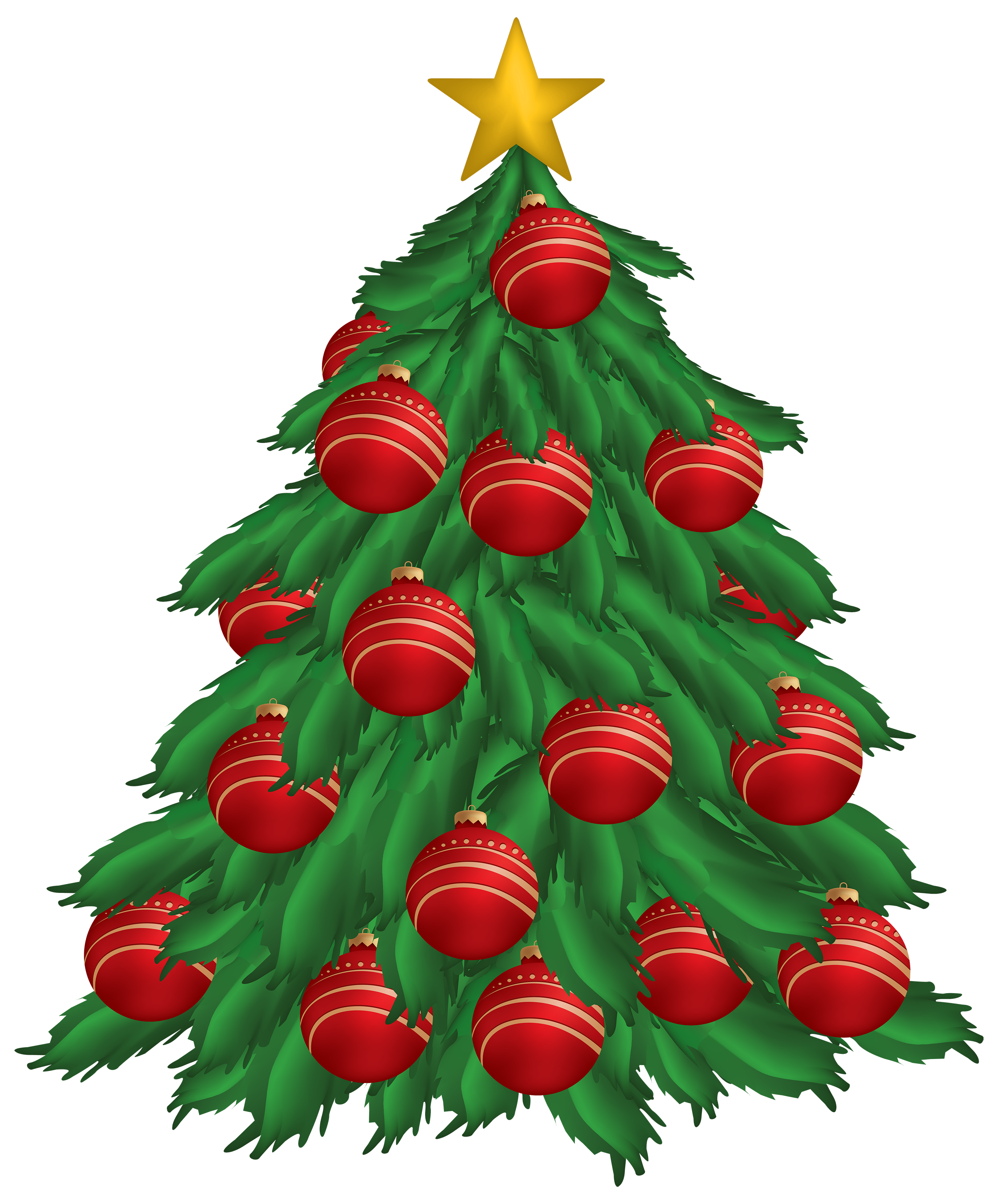 Christmas tree top view clipart banner free download Christmas Tree with Red Christmas Ornaments PNG Clipart - Best WEB ... banner free download
