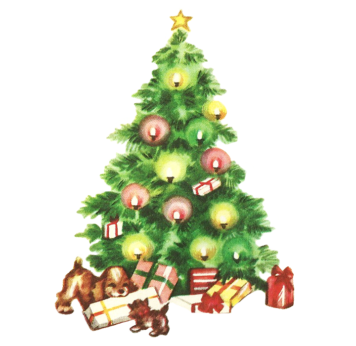 28+ Collection of Vintage Christmas Tree Clipart | High quality ... clipart library stock