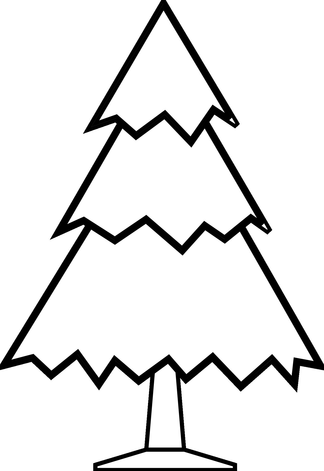 Free blackline clipart. Christmas tree black and