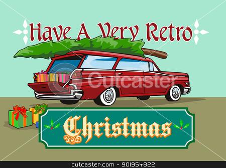 Christmas tree on station wagon clipart clipart library library Retro Christmas Tree Station Wagon stock vector clipart library library