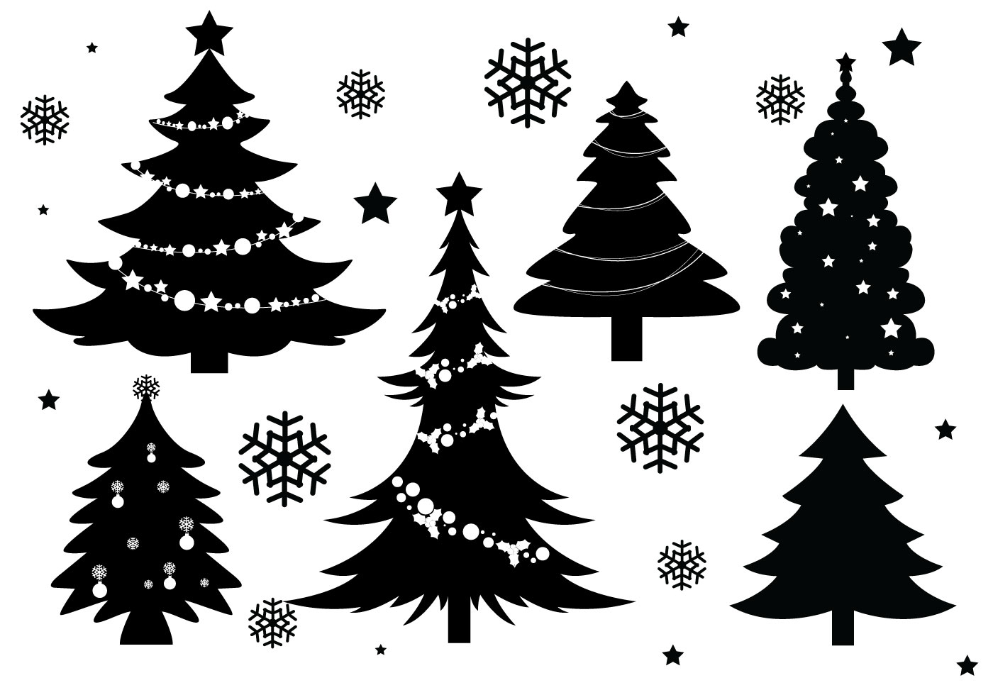 Free vector christmas clipart in black and white clip art freeuse download Christmas Tree Silhouette Free Vector Art - (636 Free Downloads) clip art freeuse download