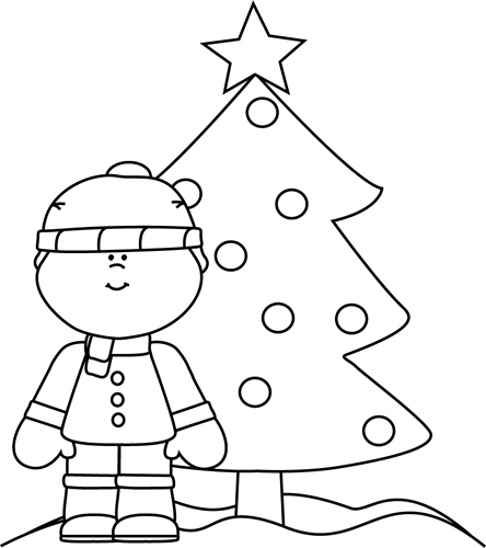 Christmas tree with face black and white clipart clip art freeuse download Black and White Boy with Christmas Tree Clip Art - Black and White ... clip art freeuse download