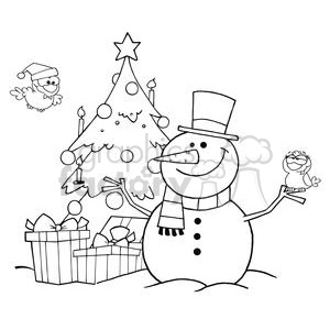 Christmas tree with face black and white clipart banner free Outlined-Friendly-Snowman-With-A-Cute-Birds-And-Christmas-Tree clipart.  Royalty-free clipart # 381391 banner free