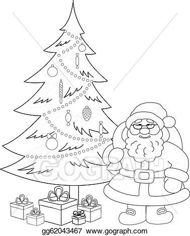Christmas tree with face black and white clipart picture library download Vector Illustration - Santa claus and christmas tree, contours. EPS ... picture library download
