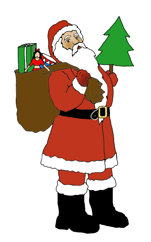 Christmas tree with presents and santa clipart royalty free Funny and free Santa Claus Clipart. royalty free
