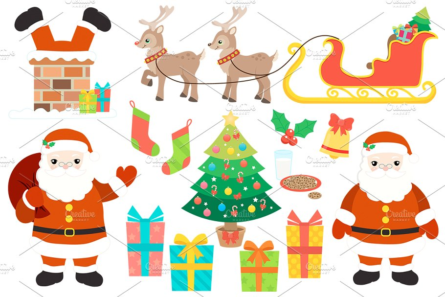 Christmas tree with presents and santa clipart png freeuse Christmas Santa Clipart png freeuse