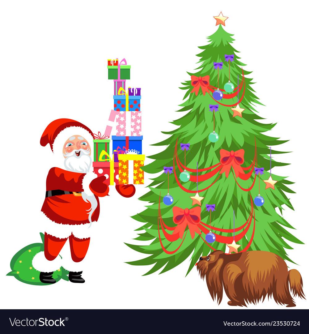 Christmas tree with presents and santa clipart banner royalty free library Cartoon santa claus putting presents under banner royalty free library