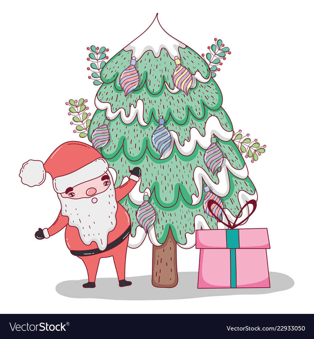 Christmas tree with presents and santa clipart svg library download Santa claus with pine tree and christmas presents svg library download