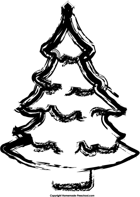 Christmas tree with smile black and white clipart jpg free Free Christmas Tree Clipart jpg free