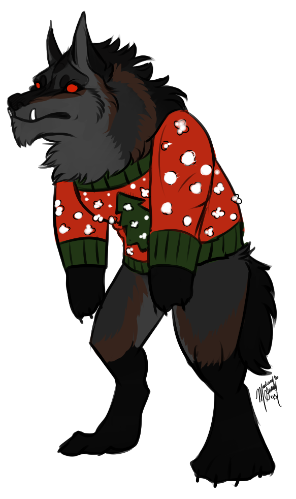 Christmas ugly sweater clipart png download Incoming YCH: Werewolf 'Ugly Christmas Sweaters' by Madiswain on ... png download