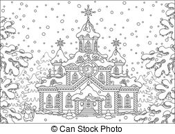 Christmas village clipart black and white